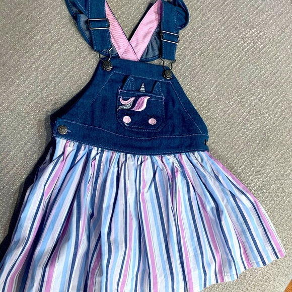 Unicorn Overall Dress with T-shirt. Size 4t.